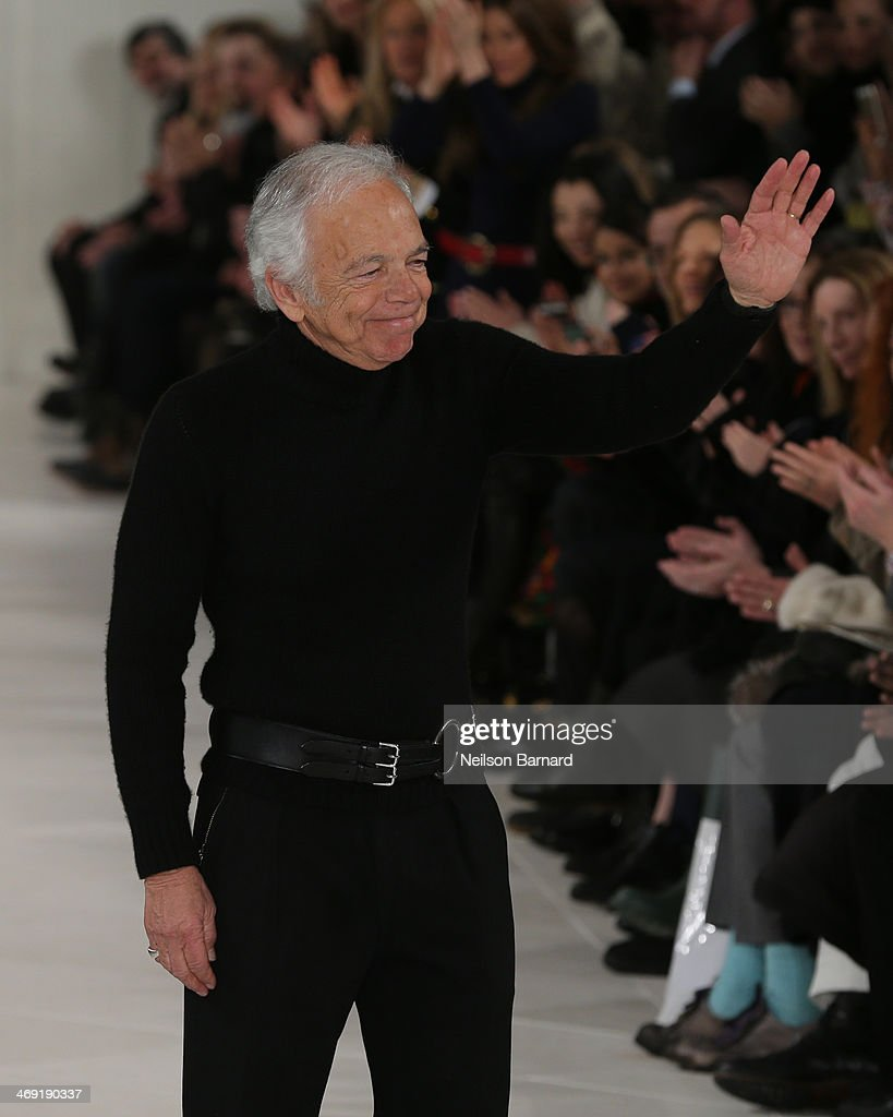 Designer <a gi-track='captionPersonalityLinkClicked' href=/galleries/search?phrase=Ralph+Lauren+-+Fashion+Designer&family=editorial&specificpeople=4442108 ng-click='$event.stopPropagation()'>Ralph Lauren</a> walks the runway at the <a gi-track='captionPersonalityLinkClicked' href=/galleries/search?phrase=Ralph+Lauren+-+Fashion+Designer&family=editorial&specificpeople=4442108 ng-click='$event.stopPropagation()'>Ralph Lauren</a> fashion show during Mercedes-Benz Fashion Week Fall 2014 at St. John Center Studios on February 13, 2014 in New York City.