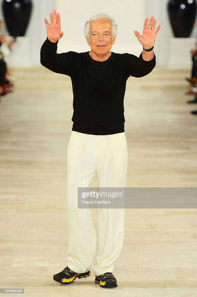 Designer <a gi-track='captionPersonalityLinkClicked' href=/galleries/search?phrase=Ralph+Lauren+-+Fashion+Designer&family=editorial&specificpeople=4442108 ng-click='$event.stopPropagation()'>Ralph Lauren</a> walks the runway at the <a gi-track='captionPersonalityLinkClicked' href=/galleries/search?phrase=Ralph+Lauren+-+Fashion+Designer&family=editorial&specificpeople=4442108 ng-click='$event.stopPropagation()'>Ralph Lauren</a> Spring 2013 fashion show during Mercedes-Benz Fashion Week on September 13, 2012 in New York City.