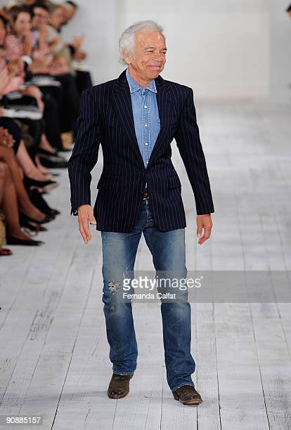 Designer Ralph Lauren walks the runway the at Ralph Lauren Spring 2010 fashion show at Skylight on September 17 2009 in New York City