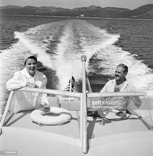 Designer Raymond Loewy on holiday in Southern France with wife Viola In Saint Tropez France In 1960Aboard his boat with young wife Viola 28