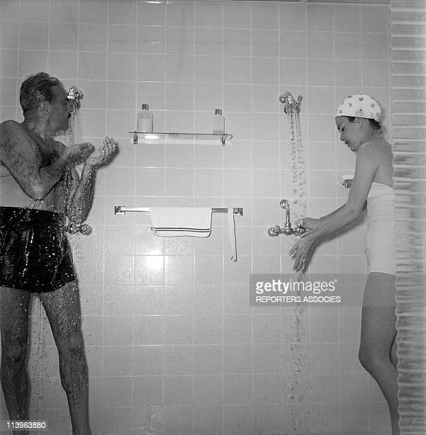 Designer Raymond Loewy on holiday in Southern France with wife Viola In Saint Tropez France In 1960Raymond Loewy taking a shower with young wife...