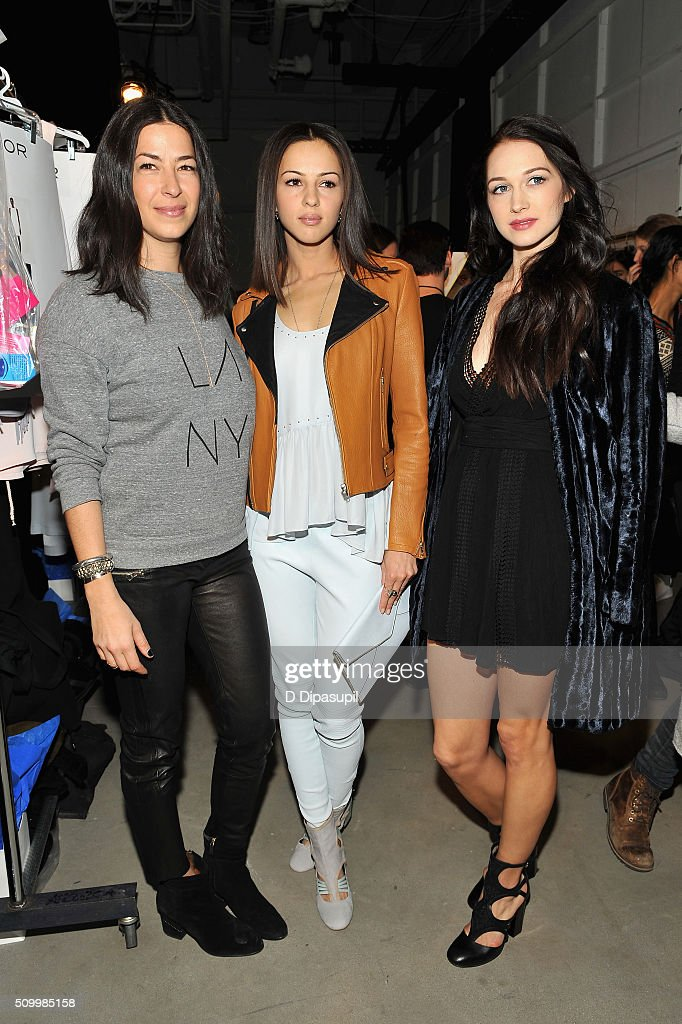 Designer, Rebecca Minkoff, Actresses <a gi-track='captionPersonalityLinkClicked' href=/galleries/search?phrase=Annet+Mahendru&family=editorial&specificpeople=7013540 ng-click='$event.stopPropagation()'>Annet Mahendru</a>, and Hannah James attend the Rebecca Minkoff Fall 2016 fashion show during New York Fashion Week: The Shows at The Gallery, Skylight at Clarkson Sq on February 13, 2016 in New York City.