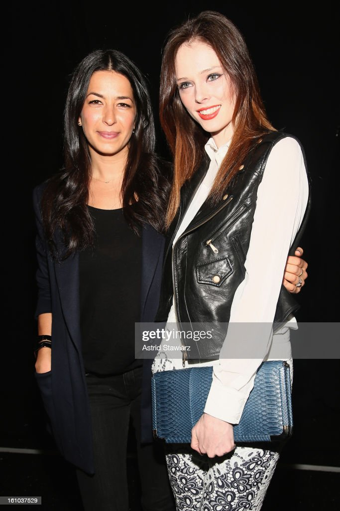 Designer Rebecca Minkoff (L) and model <a gi-track='captionPersonalityLinkClicked' href=/galleries/search?phrase=Coco+Rocha&family=editorial&specificpeople=4172514 ng-click='$event.stopPropagation()'>Coco Rocha</a> pose backstage at the TRESemme At Rebecca Minkoff Fall 2013 fashion show during Mercedes-Benz Fashion Week at The Theatre at Lincoln Center on February 8, 2013 in New York City.
