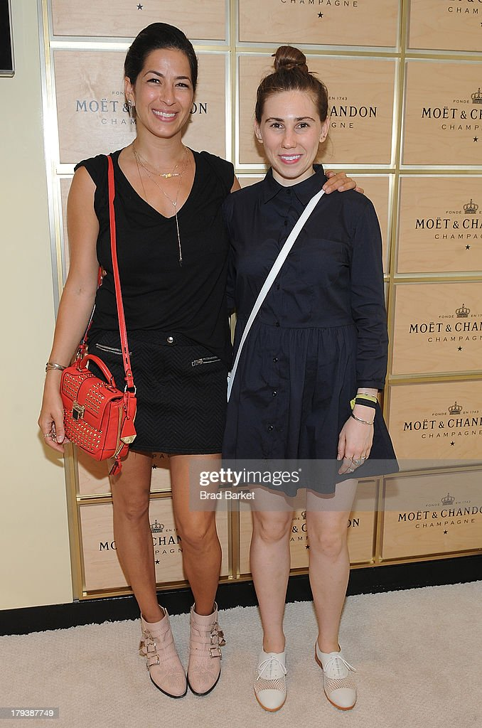 Designer Rebecca Minkoff(L) and <a gi-track='captionPersonalityLinkClicked' href=/galleries/search?phrase=Zosia+Mamet&family=editorial&specificpeople=7439328 ng-click='$event.stopPropagation()'>Zosia Mamet</a> attends the Moet & Chandon Suite at USTA Billie Jean King National Tennis Center on September 2, 2013 in New York City.