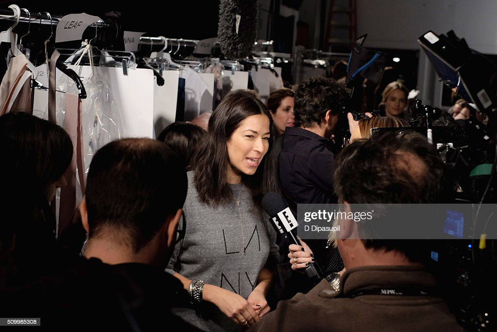 Designer, Rebecca Minkoff, is interviewed backstage at the Rebecca Minkoff Fall 2016 fashion show during New York Fashion Week: The Shows at The Gallery, Skylight at Clarkson Sq on February 13, 2016 in New York City.