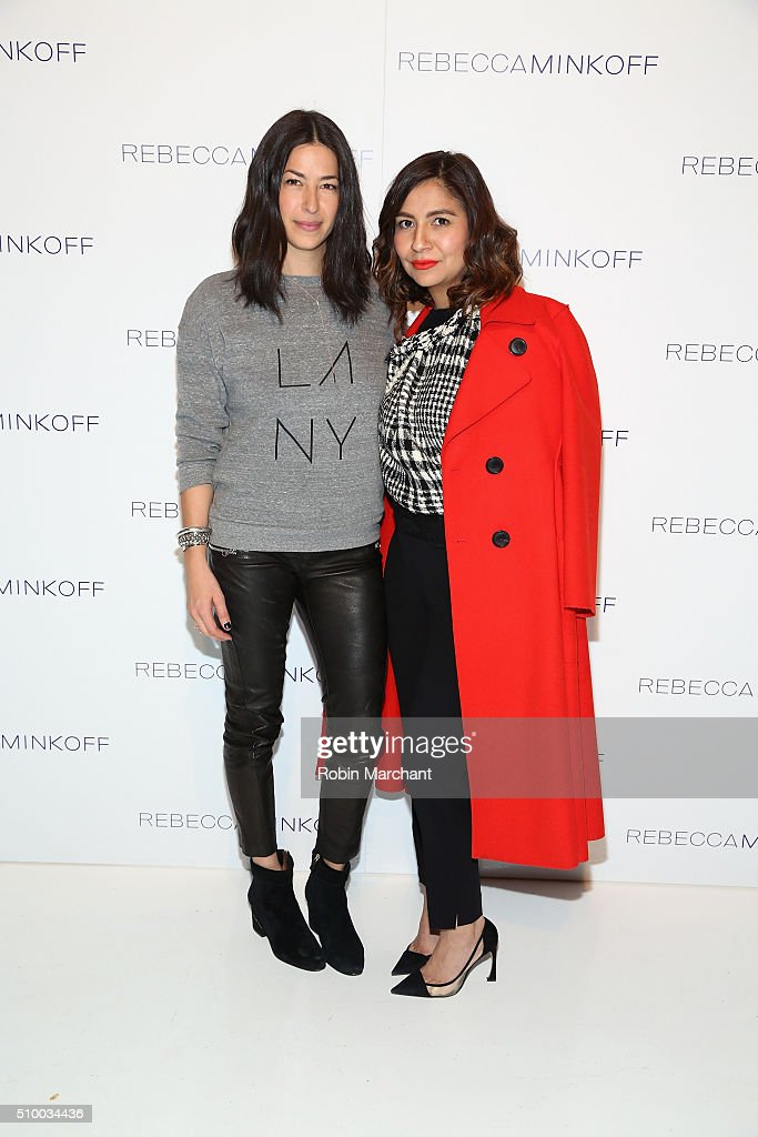 Designer, Rebecca Minkoff (L), poses with guest at the Rebecca Minkoff Fall 2016 fashion show during New York Fashion Week: The Shows at The Gallery, Skylight at Clarkson Sq on February 13, 2016 in New York City.