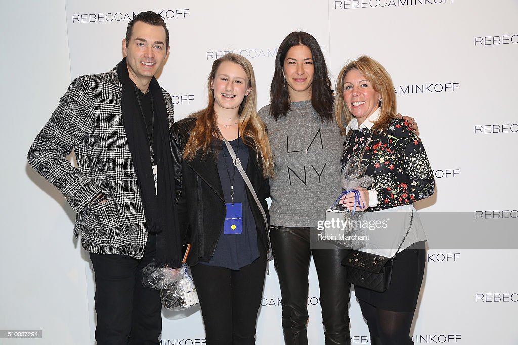 Designer, Rebecca Minkoff (3rd from left), poses with guests at the Rebecca Minkoff Fall 2016 fashion show during New York Fashion Week: The Shows at The Gallery, Skylight at Clarkson Sq on February 13, 2016 in New York City.
