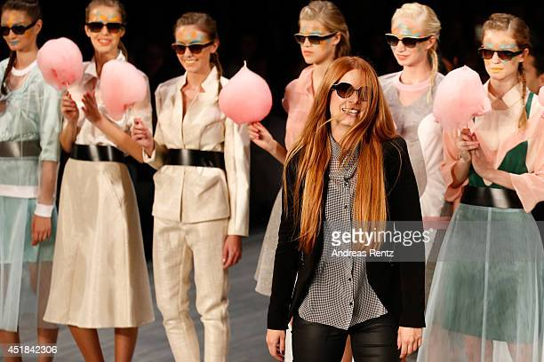 Designer Rebekka Ruetz and models at the Rebekka Ruetz show during the MercedesBenz Fashion Week Spring/Summer 2015 at Erika Hess Eisstadion on July...