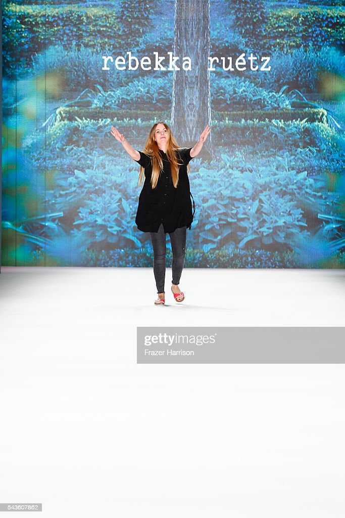 Designer Rebekka Ruetz walks the runway after her show during the Mercedes-Benz Fashion Week Berlin Spring/Summer 2017 at Erika Hess Eisstadion on June 29, 2016 in Berlin, Germany.