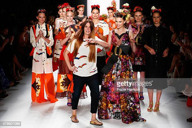 Designer Rebekka Ruetz walks the runway after the Rebekka Ruetz show during the MercedesBenz Fashion Week Berlin Spring/Summer 2016 at Brandenburg...