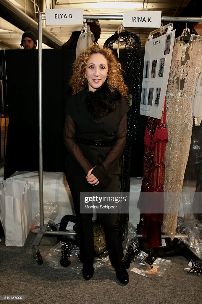 Designer Reem Acra poses backstage at the Reem Acra Fall 2016 fashion show during New York Fashion Week The Shows at The Dock Skylight at Moynihan...