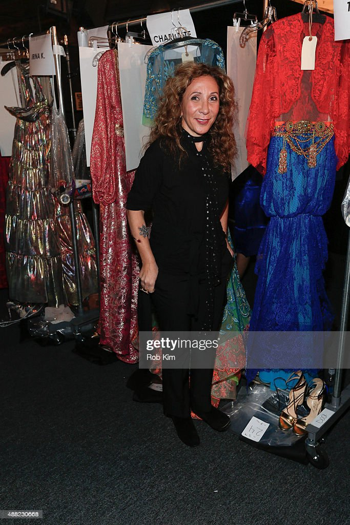 Designer Reem Acra prepares backstage before the Reem Acra fashion show during Spring 2016 New York Fashion Week: The Shows at The Dock, Skylight at Moynihan Station on September 14, 2015 in New York City.