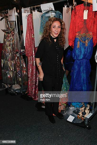 Designer Reem Acra prepares backstage before the Reem Acra fashion show during Spring 2016 New York Fashion Week The Shows at The Dock Skylight at...