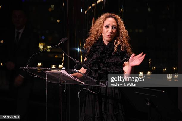 Designer Reem Acra speaks at Bridges Of Understanding's annual 'Building Bridges' award dinner honoring designer Reem Acra with Steven Kolb on...