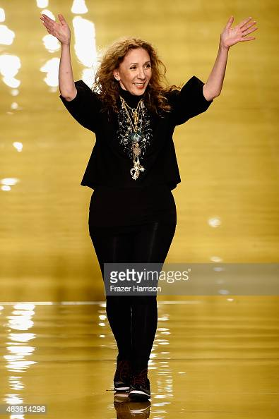 Designer Reem Acra walks the runway at the Reem Acra fashion show during MercedesBenz Fashion Week Fall 2015 at The Salon at Lincoln Center on...