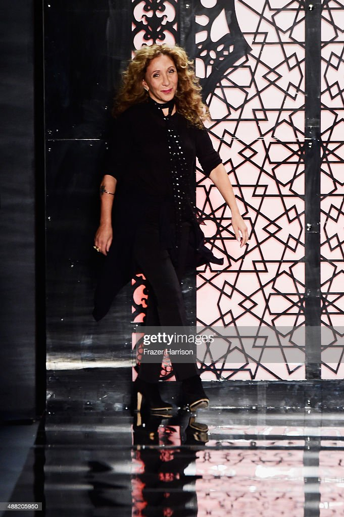 Designer Reem Acra walks the runway wearing Reem Acra Spring 2016 during New York Fashion Week: The Shows at The Dock, Skylight at Moynihan Station on September 14, 2015 in New York City.