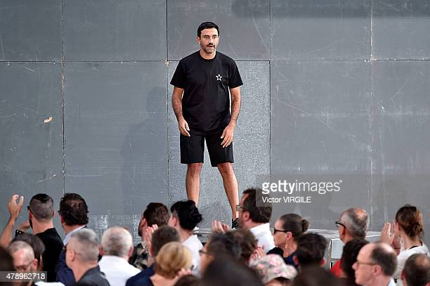 Designer Ricardo Tisci walks the runway during the Givenchy Menswear Spring/Summer 2016 show as part of Paris Fashion Week on June 26 2015 in Paris...
