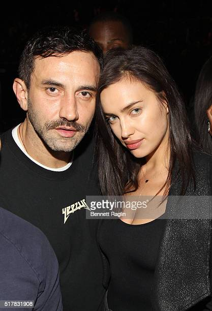 Designer Riccardo Tisci and model lrina Shayk attend the D'USSE VIP Riser At Rihanna ANTI World Tour at Barclays Center on March 27 2016 in New York...