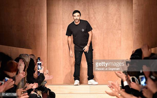 Designer Riccardo Tisci is seen on the runway during the Givenchy show as part of the Paris Fashion Week Womenswear Fall/Winter 2016/2017 on March 6...