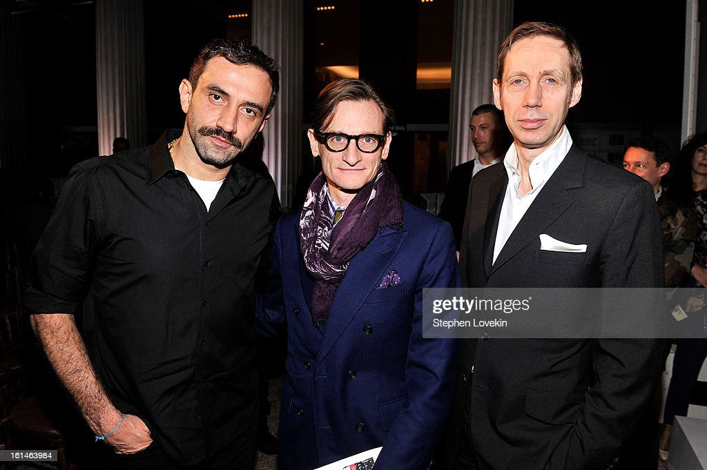 Designer Riccardo Tisci, Metropolitan Museum curator Andrew Bolton and Vogue International Editor at large Hamish Bowles attend the