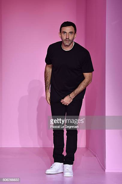 Designer Riccardo Tisci poses on the runway during the Givenchy Menswear Fall/Winter 20162017 show as part of Paris Fashion Week on January 22 2016...