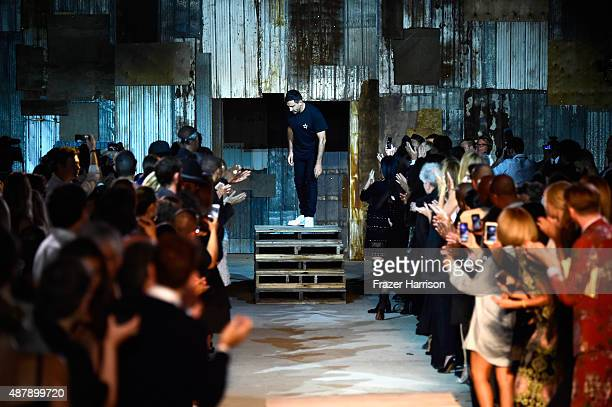 Designer Riccardo Tisci walks the runway at Givenchy Spring 2016 during New York Fashion Week at Pier 26 at Hudson River Park on September 11 2015 in...