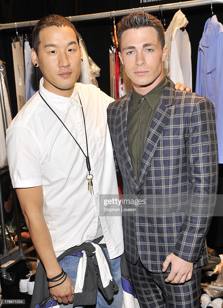 Designer Richard Chai (L) and actor <a gi-track='captionPersonalityLinkClicked' href=/galleries/search?phrase=Colton+Haynes&family=editorial&specificpeople=4282136 ng-click='$event.stopPropagation()'>Colton Haynes</a> pose backstage at the Richard Chai Spring 2014 fashion show during Mercedes-Benz Fashion Week at The Stage at Lincoln Center on September 5, 2013 in New York City.