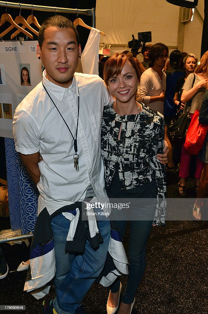 Designer Richard Chai and actress <a gi-track='captionPersonalityLinkClicked' href=/galleries/search?phrase=Christina+Ricci&family=editorial&specificpeople=239510 ng-click='$event.stopPropagation()'>Christina Ricci</a> attend the Richard Chai -- Love & Richard Chai Men's show during Spring 2014 Mercedes-Benz Fashion Week at The Stage at Lincoln Center on September 5, 2013 in New York City.