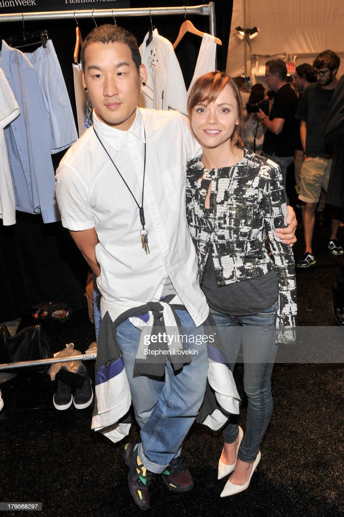 Designer Richard Chai (L) and actress <a gi-track='captionPersonalityLinkClicked' href=/galleries/search?phrase=Christina+Ricci&family=editorial&specificpeople=239510 ng-click='$event.stopPropagation()'>Christina Ricci</a> pose backstage at the Richard Chai Spring 2014 fashion show during Mercedes-Benz Fashion Week at The Stage at Lincoln Center on September 5, 2013 in New York City.