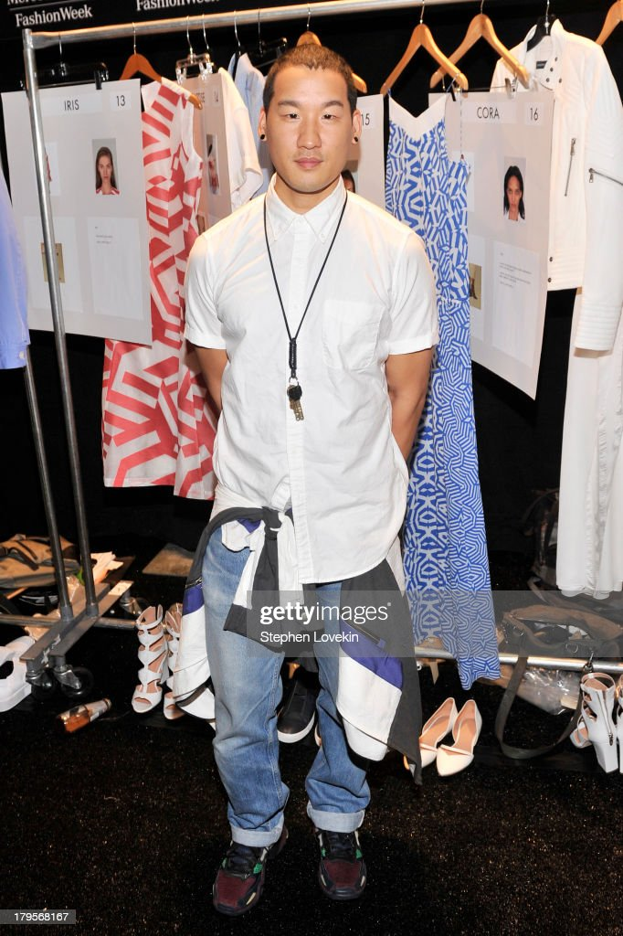 Designer Richard Chai poses backstage at the Richard Chai Spring 2014 fashion show during Mercedes-Benz Fashion Week at The Stage at Lincoln Center on September 5, 2013 in New York City.