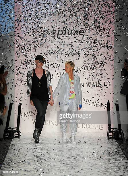 Designer Richie Rich and Ellen Degeneres walk the runway at the Richie Rich Spring 2011 fashion show during MercedesBenz Fashion Week at The Studio...