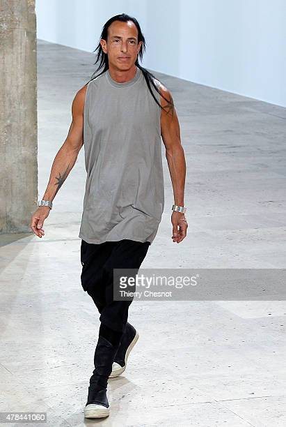 Designer Rick Owen walks the runway during the Rick Owens Menswear Spring/Summer 2016 show as part of Paris Fashion Week on June 25 2015 in Paris...