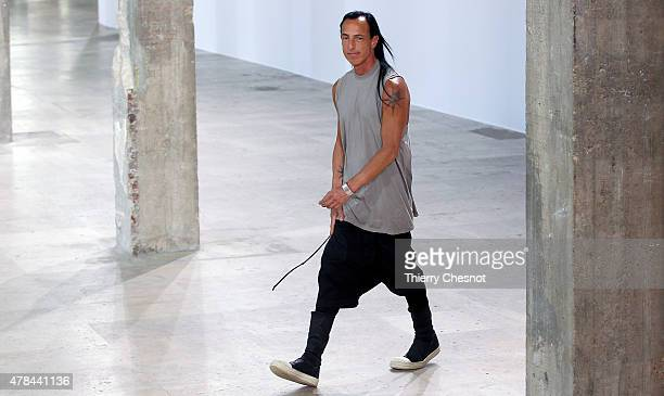 Designer Rick Owen walks the runway during the Rick Owens Menswear Spring/Summer 2016 show as part of Paris Fashion Week on June 25 2015 in Paris...