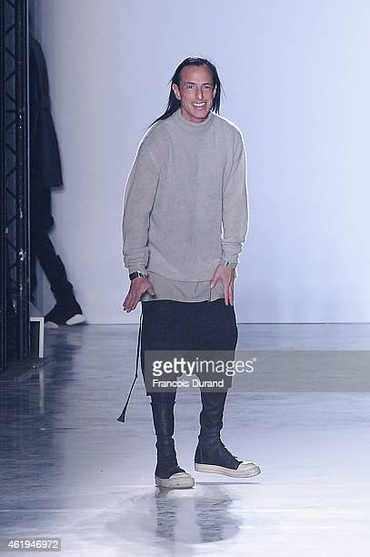 Designer Rick Owens acknowledges the applause of the audience after the Rick Owens Menswear Fall/Winter 20152016 show as part of Paris Fashion Week...