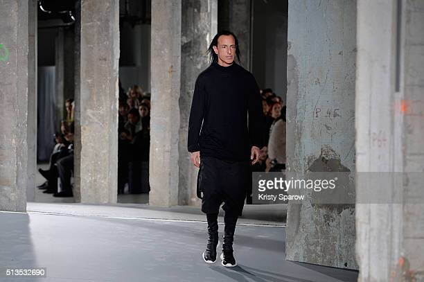 Designer Rick Owens acknowledges the audience during the Rick Owens show as part of the Paris Fashion Week Womenswear Fall/Winter 2016/2017 on March...