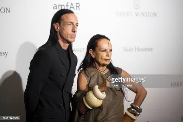 Designer Rick Owens and Michele Lamy arrive for the amfAR Paris Dinner at Le Petit Palais on July 2 2017 in Paris France