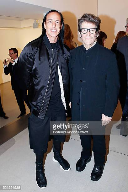 Designer Rick Owens and Robert Longo attend the Robert Longo Exhibition at Galerie Thaddeus Ropac on April 15 2016 in Paris France