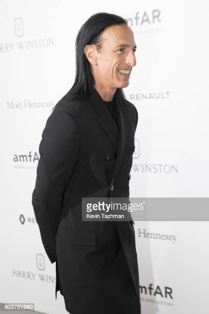 Designer Rick Owens arrives for the amfAR Paris Dinner at Le Petit Palais on July 2 2017 in Paris France
