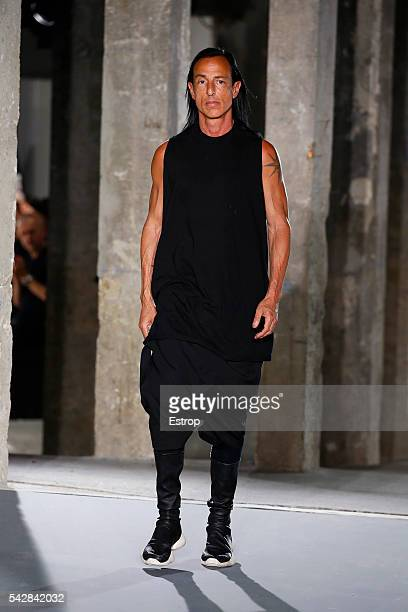 designer Rick Owens walks the runway during the Rick Owens Menswear Spring/Summer 2017 show as part of Paris Fashion Week on June 23 2016 in Paris...