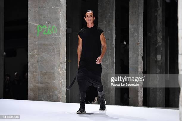 Designer Rick Owens walks the runway during the Rick Owens show as part of the Paris Fashion Week Womenswear Spring/Summer 2017 on September 29 2016...