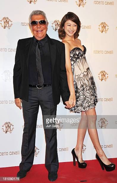 Designer Roberto Cavalli and actress Yu Yamada attend the Roberto Cavalli Tokyo Flagship Store Opening event on November 1 2011 in Tokyo Japan