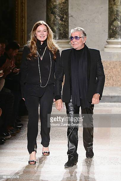 Designer Roberto Cavalli and Eva Cavalli acknowledges the applause of the public after the Roberto Cavalli show as a part of Milan Menswear Fashion...