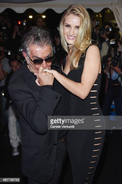 Designer Roberto Cavalli and model Rosie HuntingtonWhiteley attend the Roberto Cavalli yacht party at the 67th Annual Cannes Film Festival on May 21...