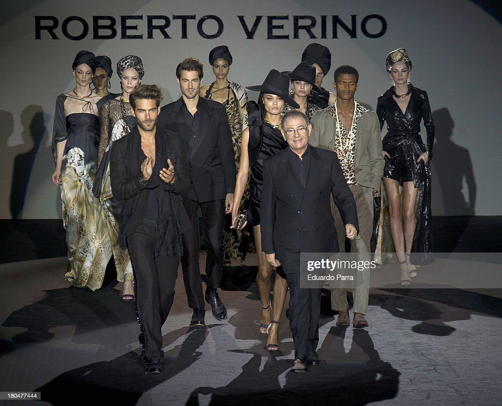 Designer Roberto Verino (R) walks the runway at Roberto Verino show during Mercedes Benz Fashion Week Madrid Spring/Summer 2014 at Ifema on September 13, 2013 in Madrid, Spain.