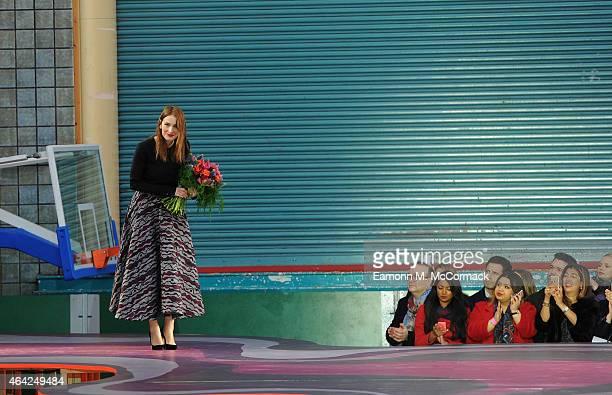 Designer Roksanda Ilincic on the runway at the Roksanda show during London Fashion Week Fall/Winter 2015/16 at Seymour Hall on February 23 2015 in...