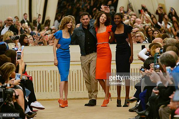 Designer Roland Mouret with models at the Roland Mouret Spring Summer 2016 fashion show during Paris Fashion Week on October 4 2015 in Paris France
