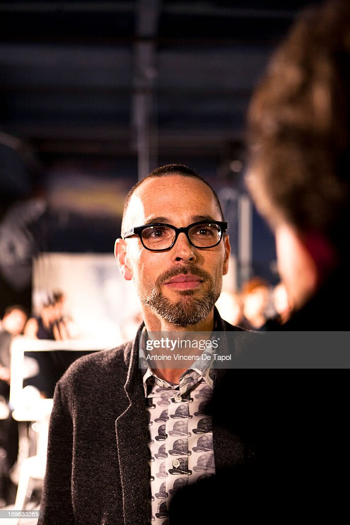 Designer Rolf Snoeren backstage after the show during the Viktor & Rolf Men Autumn / Winter 2013 show as part of Paris Fashion Week on January 17, 2013 in Paris, France.