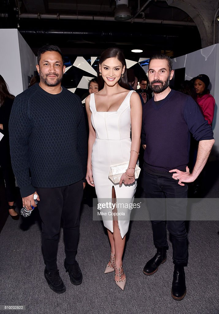 Designer Ryan Lobo, Miss Universe Pia Alonzo Wurtzbach, and designer Ramon Martin seen during day 4 of New York Fashion Week: The Shows at XX on February 14, 2016 in New York City.