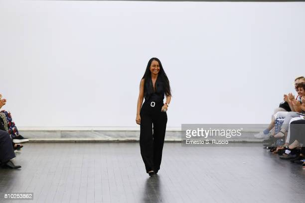 Designer Sabrina Persechino walks the runway at the Sabrina Persechino Show during Altaroma on July 7 2017 in Rome Italy