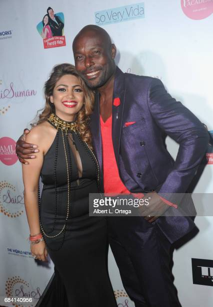 Designer Sai Suman and actor Jimmy Jean Louis at Sai Suman's Official Hollywood Runway Fashion Show held at Sofitel Hotel on April 11 2017 in Los...